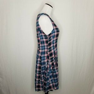 BeBop Dresses - Teal Wine Plaid Sleeveless Mini Fit Flare Dress